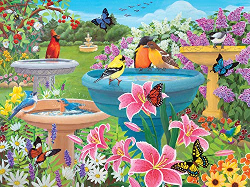 """Bits and Pieces - 500 Piece Jigsaw Puzzle for Adults 18"""" x 24"""" - Birdbath Haven - 500 pc Butterfly Flower Bird Bath Spring Jigsaw by Artist Kathy Bambeck"""