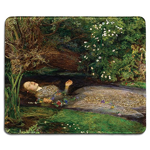 dealzEpic - Art Mousepad - Natural Rubber Mouse Pad with Famous Fine Art Painting of Ophelia by John Everett Millais - Stitched Edges - 9.5x7.9 inches