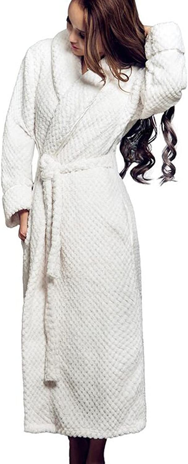 GJM Shop Bathrobes VNeck 100% Polyester Fiber Female Extended Thicken Pajamas Autumn and Winter Keep Warm Nightgown Home Clothes S M L (color   2, Size   L)