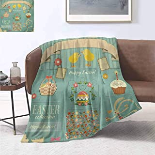 jecycleus Easter Comfortable Large Blanket Easter Themed Rabbit Ornamental Eggs Cupcake and Basket Spring Season Arrangement Microfiber Blanket Bed Sofa or Travel W91 by L60 Inch Multicolor