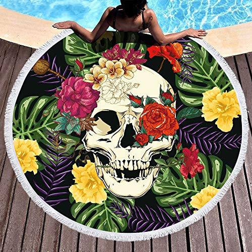 Bonsai Tree Skull Round Beach Towel, Rainforest Tropical Floral Oversized Beach Blanket with Tassels, Picnic Mat Beach Gifts for Women 59""