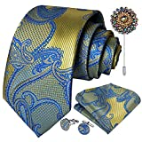 DiBanGu Flower Paisley Men Tie Set with Handkerchief Cufflink Tie Clip Gifts Formal (Blue Gold 7186)