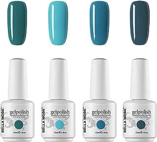 BELLA MODA 15ml Gel Nail Polish Set of Blue Colors Required Soak Off UV Nail Art Manicure Kits Ge Polishl