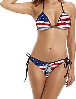 Hotgirl4 Women Retro American Flag Bikini Swimsuit Black 1 Size