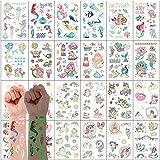 300PCS Tatuajes Temporales Para Niños Niñas, VEGCOO Luminoso Impermeables Dibujos Animados Falso Pegatinas de Tatuaje, Regalo de Fiesta de Cumpleaños para Niños Infantiles( Sirena y unicornio)