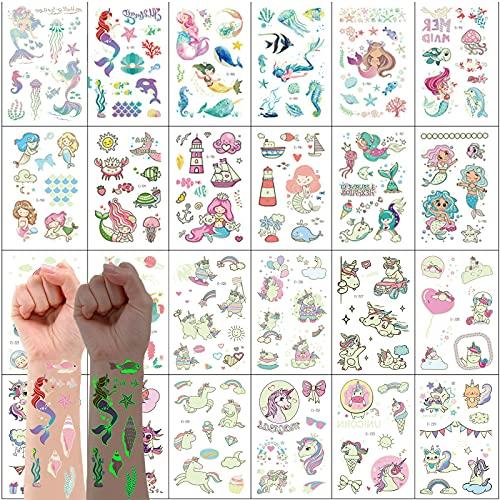 VEGCOO 300PCS Tatuajes Temporales Pegatinas Para Niños Niñas Luminoso Dibujos Animados Falso Pegatinas de Tatuaje para Niños Infantiles Regalo de Fiesta de Cumpleaños ( Sirena y unicornio)