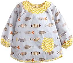 Tokkids Bebe Delantal Babero Algodon con Mangas, Delantales niños, 2 - 4 años (Grey Fish, 3-4años)