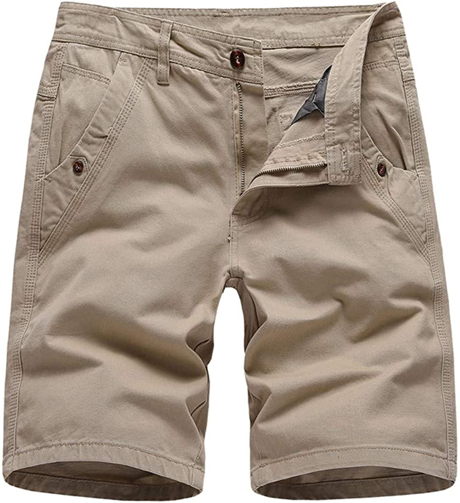 VEKDONE Mens Casual Shorts Workout Comfy Chino Shorts Lightweight Summer Cargo Work Shorts