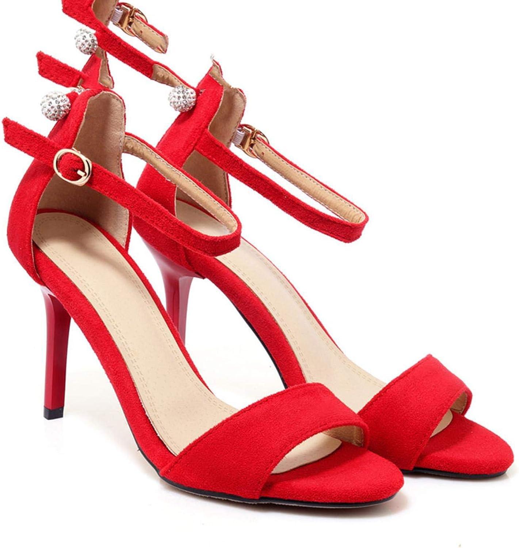 Women Sandals Top Quality Flock Red Thin High Heels
