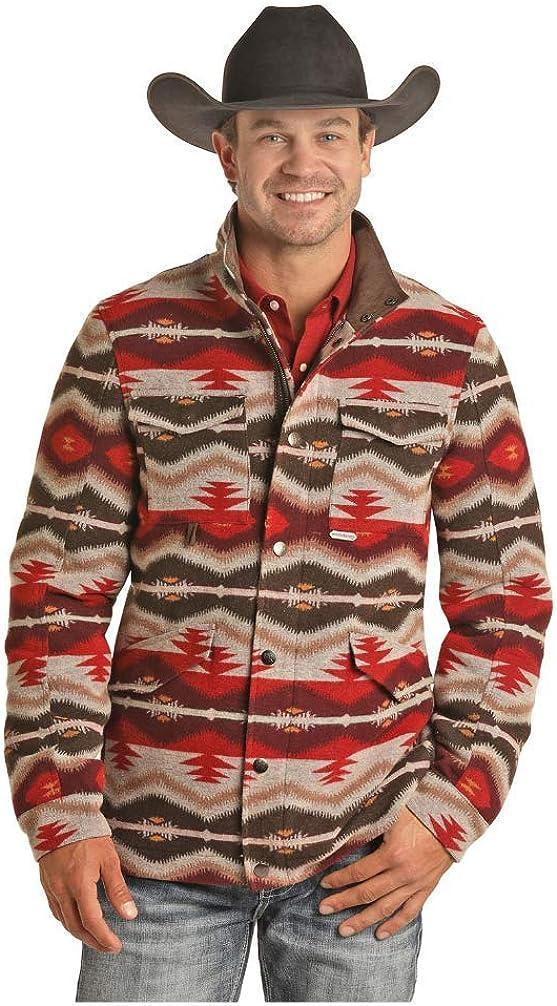Panhandle Mens Powder River Aztec Wool Blend Jacket XXL Red