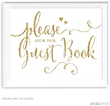 Andaz Press Wedding Party Signs, Glam Gold Glitter Print, 8.5-inch x 11-inch, Please Sign our Guestbook, 1-Pack