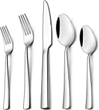 Wildone 40-Piece Silverware Set, Stainless Steel Flatware Square Cutlery Set Service for 8, Eating Utensils Include Knife ...