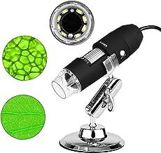 Kranich Digital Microscopio USB portatil 1000x endoscopio con Zoom para cámara de Ordenador con 8 LED Compatible con Window y Android