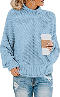 Womens Turtleneck Sweaters Casual Baggy Batwing Long Sleeve Knitted Pullover Jumper Tops
