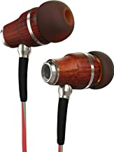 Symphonized NRG 3.0 Earbuds in-Ear Headphones, Wood Noise-isolating Earphones with Microphone & Volume Control (Crimson Red & Hazy Gray)