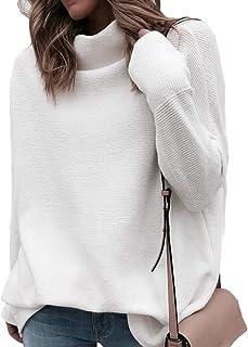 Manga Larga del Invierno del otoño del suéter de Las Mujeres Blancas de Punto suéteres Jersey de Cuello Alto suéter de la ...