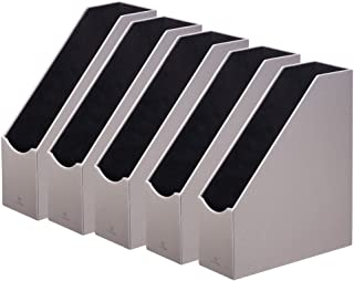 Vlando VPACK Magazine File Organizer Holder - Large Home Office Leatherette Organizer Collection (Pebble Grey Set of 5)