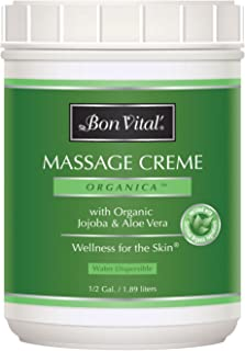 Bon Vital' Organica Massage Crème, Professional Massage Therapy Cream with Certified Organic Ingredients for an Earth-Friendly & Relaxing Massage, Organic Jojoba Oil for Easy Glide, 1/2 Gallon Jar