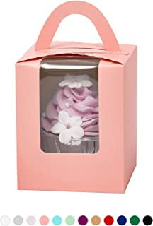 Yotruth Pink Cupcake Boxes Single Valentines 50 Sets For Standard Size Cupcakes For Birthday and Baby Shower Girl (Classic Series)