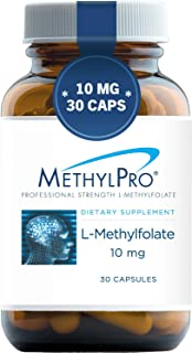 MethylPro 10mg L-Methylfolate (30 Capsules) - Professional Strength Active Methyl Folate, 1000 mcg 5-MTHF Supplement for M...