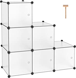 """C&AHOME Cube Storage Organizer, 6-Cube Plastic Closet Cabinet, Modular Book Shelf Organizer Units, Storage Shelving with Doors Ideal for Bedroom Living Room Office 36.6""""L x 12.4""""W x 36.6""""H Translucent"""