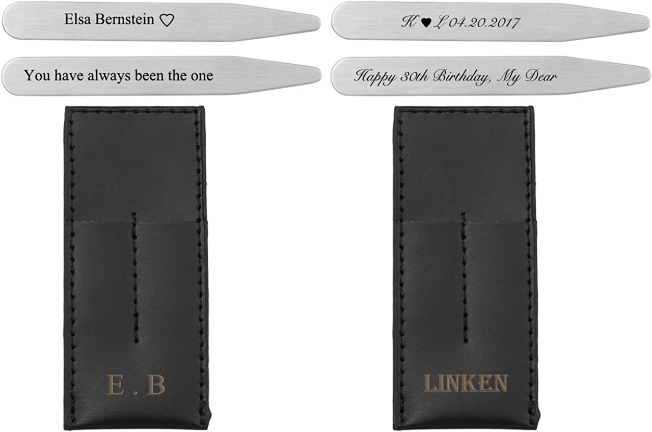 Personalized Master Free Engraving Custom Engraved Stainless Steel Collar Stays Travel Set for Men Dress Shirt Stiffeners in Genuine Leather Case Holder Wallet, 2.2
