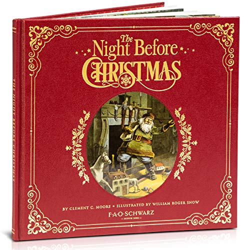 FAO Schwarz 1001876 The Night Before Christmas Premiere Genuine Leather-Bound Book, Multicolor