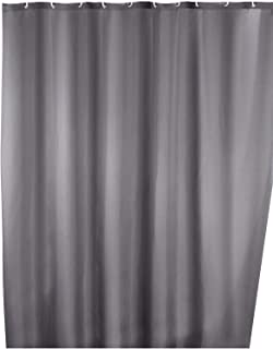 Anti-mold shower curtain Uni Grey, anti-bacterial, textile, washable, water repellent, mold resistant, with 12 shower curt...