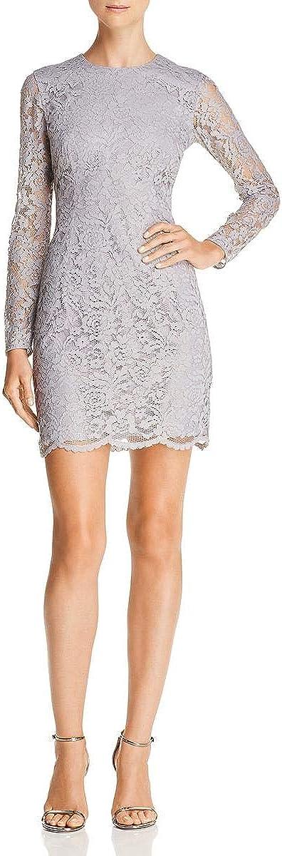 Dress the Population Women's Ash Long Sleeve Lace Short Mini Dress, Platinum/Gold, XL