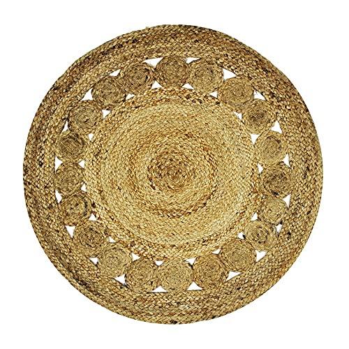 Alfombra de 70 cm de diámetro, Natural