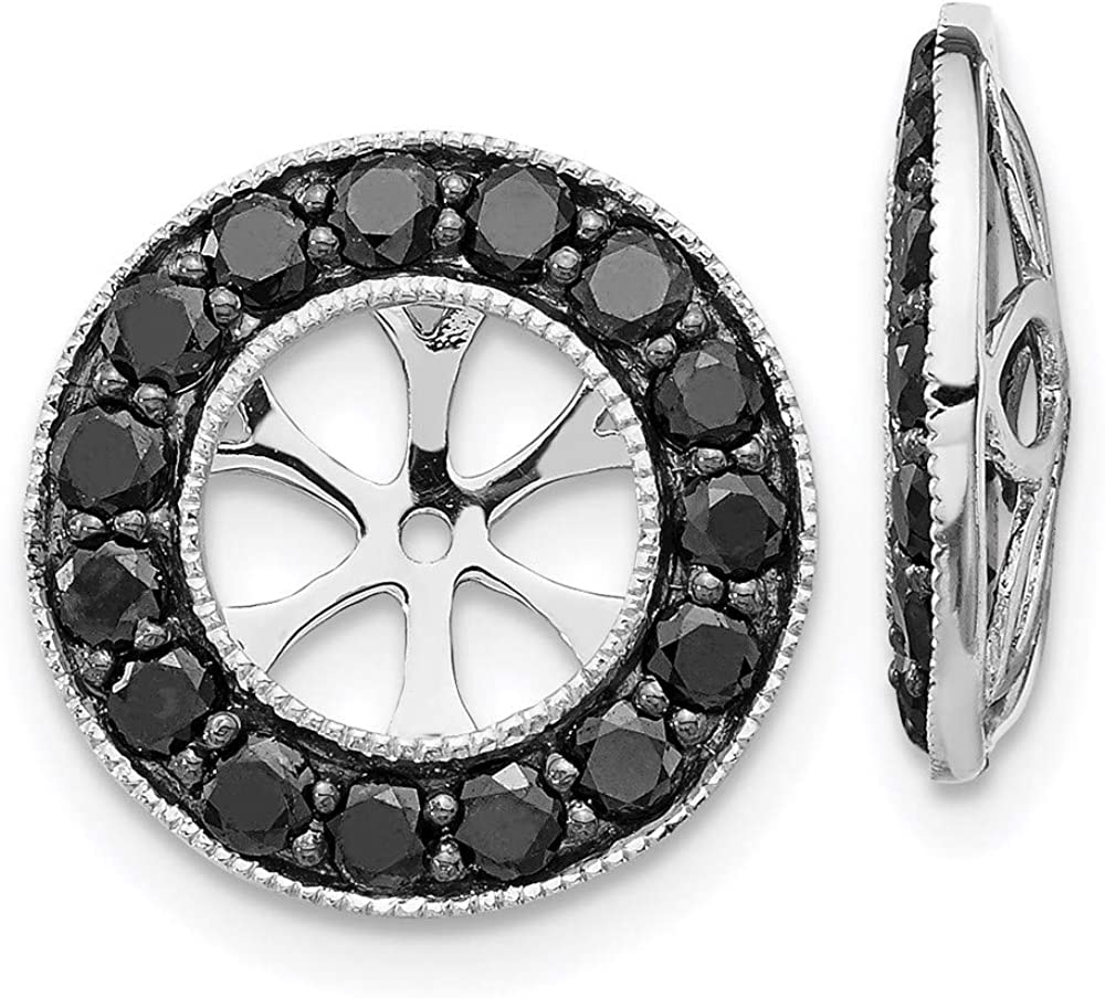 14k White Gold Black Diamond Earring Jackets