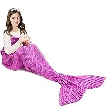 JR.WHITE Mermaid Tail Blanket for Kids and Adults,Hand Crochet Snuggle Mermaid,All Seasons Seatail Sleeping Bag Blanket (Pastel Pink)