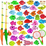 YEITIADY Magnetic Fishing Game Pool Toys for Kids 2 Fishing Poles 2 Fishing Nets and 40 Floating Magnet Ocean Sea Animals Bathtub Bath Toys Water Fish Toys for Kids Toddlers Toys