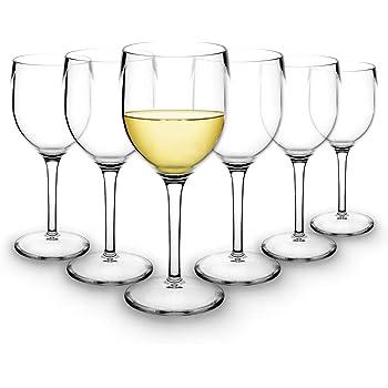 RB Weißweingläser Premium-Kunststoff Unzerbrechlich Wiederverwendbar 20cl, Stück 6