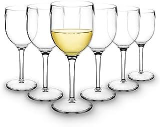 RB Copas de Vino Blanco Plástico Premium Irrompible Reutilizable 20cl, Set de 6