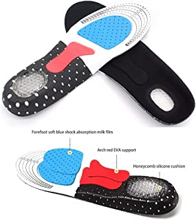 ZZWIF Plantar Fasciitis Feet Insoles Functional Sports Insoles Arch Support Orthotics Inserts Relieve Flat Feet Shock Absorption for Walking, Running and Hiking, Cuttable Size(Men 7.5-12)