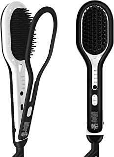 Hair Straightener Brush, Abody Beard Straightener with Anti-Scald Feature, 4 Heat Levels, Fast Ceramic Heating, Auto-Off & Dual Voltage, 360 Swivel Cord, with Glove&2 Clips