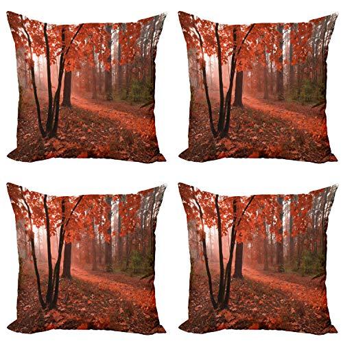 ABAKUHAUS Otoño Set de 4 Fundas para Cojín, Misty Bosque de Hojas de Naranja, Estampado Digital en Ambos Lados y Cremallera, 45 cm x 45 cm, marrón Naranja