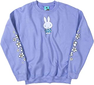 TruffleShuffle Womens Miffy Flowers Sleeve Print Violet Sweater