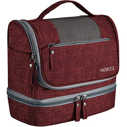 Toiletry Bag, VAGREEZ Upgraded Hanging Travel Toiletry Organizer Kit with Heavy-duty Zippers Waterproof Comestic Bag Dop Kit for Men or Women (Claret)