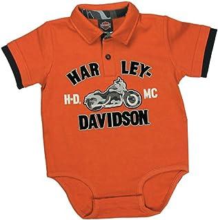 24641707e Harley-Davidson Boys Baby HDMC Motorcycle Interlock Creeper Polo 2pc Pant  Set Orange