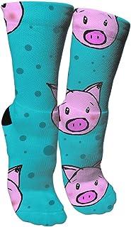 靴下 抗菌防臭 ソックス 豚とポルカドットアスレチックスポーツソックス、旅行&フライトソックス、塗装アートファニーソックス30センチメートル長い靴下