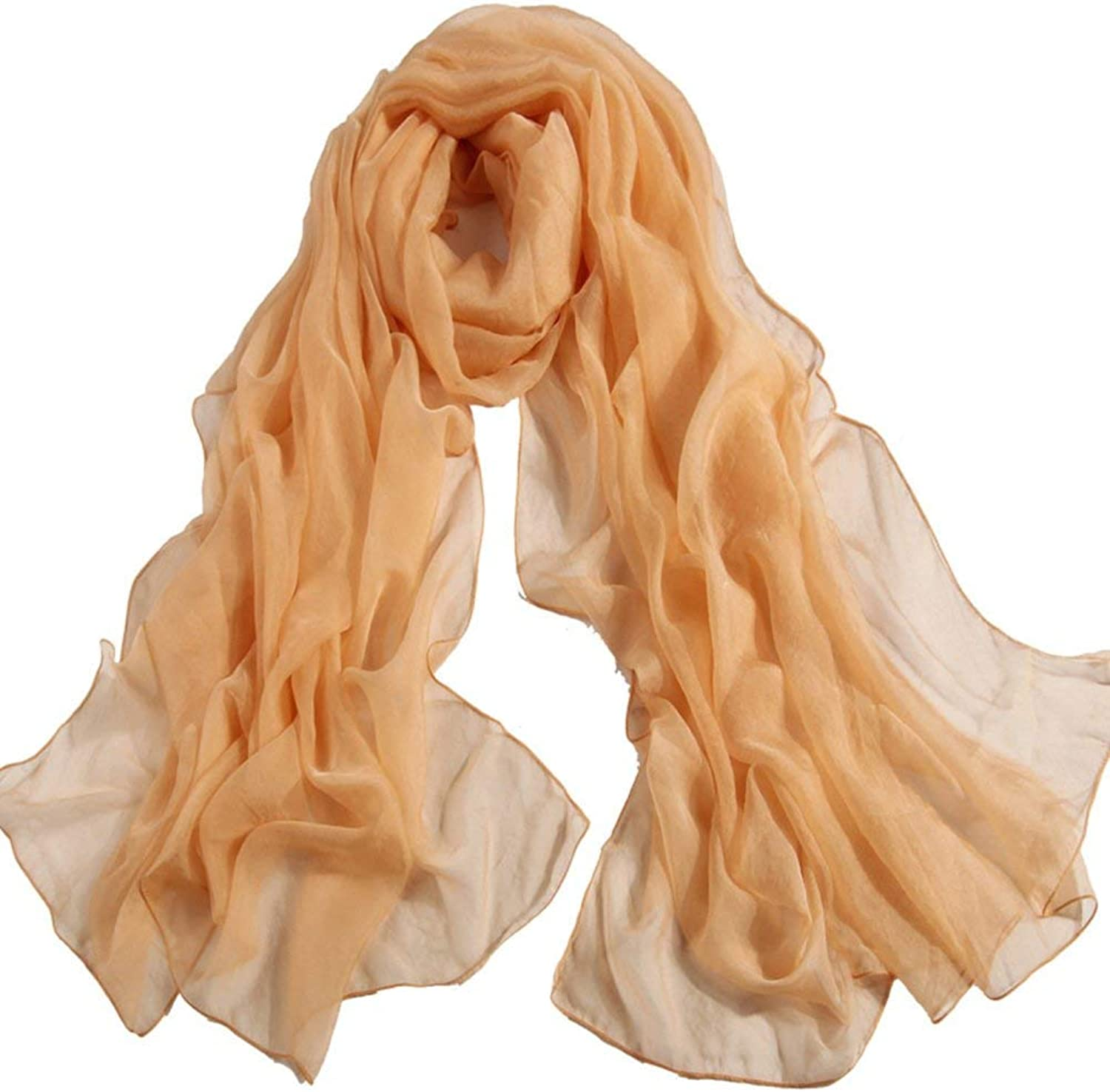 Paioup Lady long silk shawl Scarf Dualse solid color silk scarf in winter