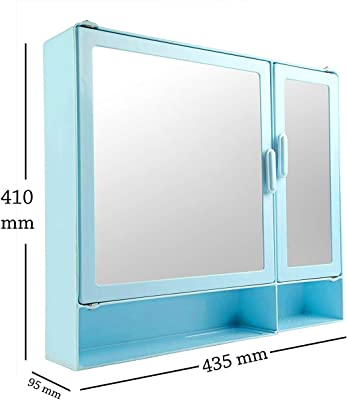 "Epraiser ABS Unbreakable Z-BF 109 Bathroom Double Mirror Double Door Cabinet with Storage Chest/Shelves & Extra Shelf,17""X4""X16"" Plastic Wall Shelf (Blue)"