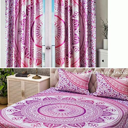 Set of Duvet Cover and Curtains, Pink Duvet Cover, Queen Bed Frame, Pink Ombre Curtains, Boho Curtains, FREE SHIPPING