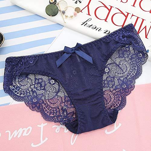 QWERTYU Dames kanten slipje mode boog Bloemen Panty Meisjes Ondergoed plus maat XL Mid-rise broek Vrouw lingerie Vrouwen sexy slipje LIFUQIANGME (Kleur: Blauw, Maat : 5st)