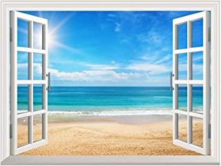 Wall26 Removable Wall Sticker/Wall Mural - Beautiful Summer Seascape and The Beach | Creative Window View Home Decor/Wall Decor - 36