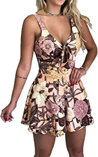 Womens V Neck Floral Short Jumpsuit Front Tie Knot Rompers Spaghetti Strap Sleeveless Summer Playsuit