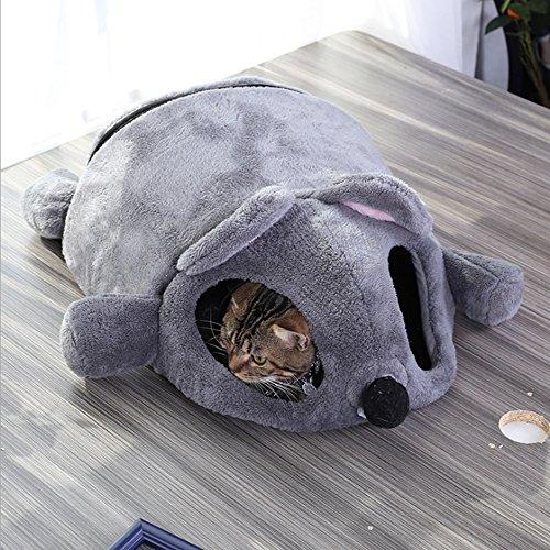 Haustier Katze Bett Den Nest,Karikatur Mausform Haus Bett Zelt Innen Katzenhaus mit Entfernbar Matte und Reißverschluss Unterseite (Grau)