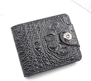 BeniNew men's wallet short big capacity multi-function crocodile pattern magnetic buckle wallet wallet-black